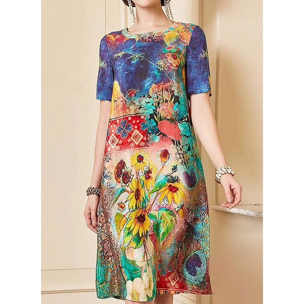 FloryDay / Casual Floral Tunic Round Neckline Shift Dress (1955542495)