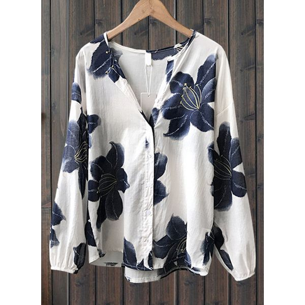 Floral Casual Round Neckline Long Sleeve, Blouses (1645442596, Off-white