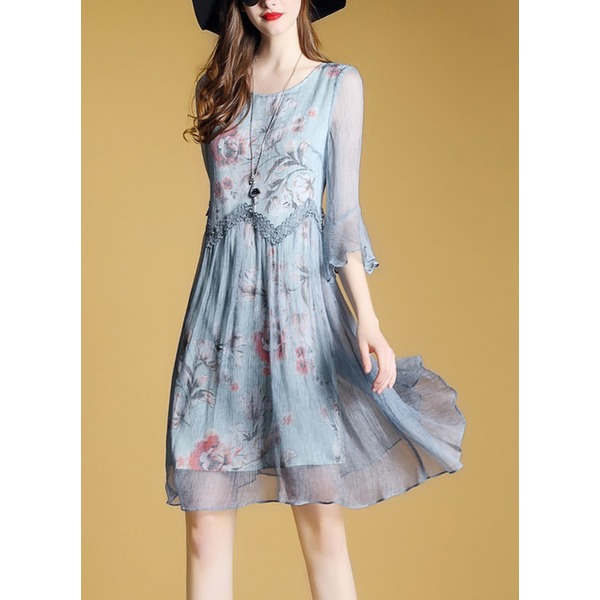 162c3f9a68aa FloryDay / Floral Skater Half Sleeve Above Knee A-line Dress (1955251943)