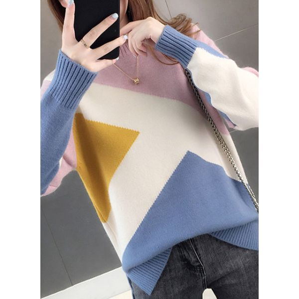 Round Neckline Color Block Casual Loose Regular Shift Sweaters (1675480088, Blue;pink;yellow;khaki