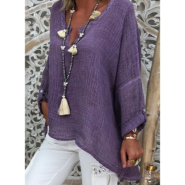 Plus Size Solid Casual V-Neckline Long Sleeve Blouses (1645415625, Purple