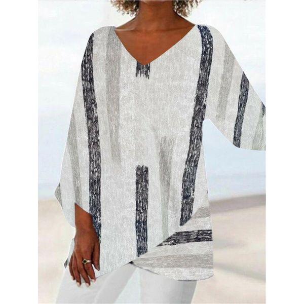 Airycloth coupon: Stripe Casual V-Neckline 3/4 Sleeves Blouses (1645580342)