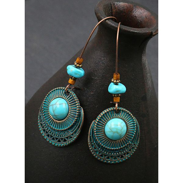 Casual Round Gemstone Dangle Earrings (1855734141), FloryDay, Blue, Apparel & Accessories, Jewelry  - buy with discount