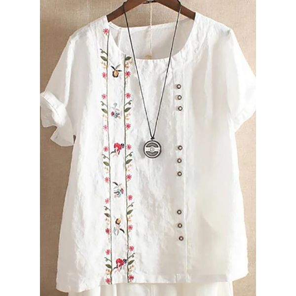 Floral Casual Round Neckline Short Sleeve, Blouses (1645436416, White