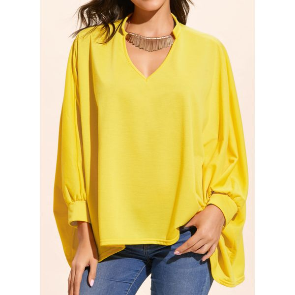 Solid Casual V-Neckline Long Sleeve Blouses (01645407867), FloryDay, Black, Orange, Yellow, Apparel & Accessories, Clothing  - buy with discount