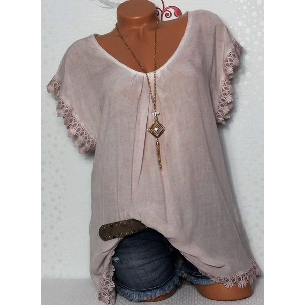 Airycloth coupon: Solid Casual Round Neckline Short Sleeve Blouses (01645501248)