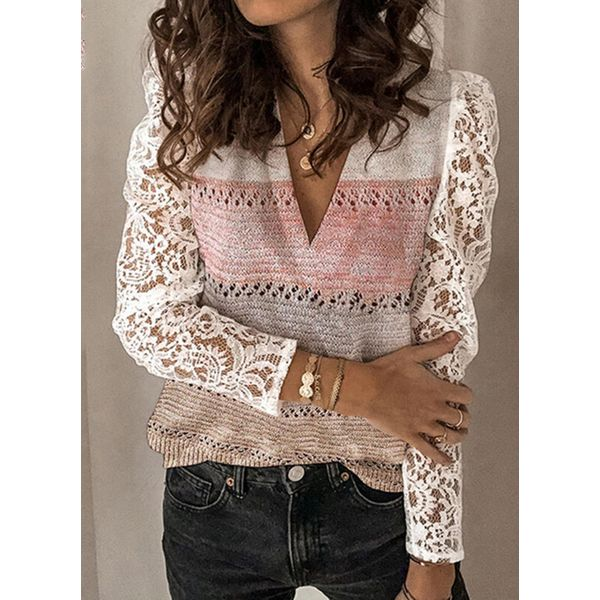 V-Neckline Color Block Casual Regular Lace Hollow Out Sweaters (1675639007, Pink;burgundy;orange
