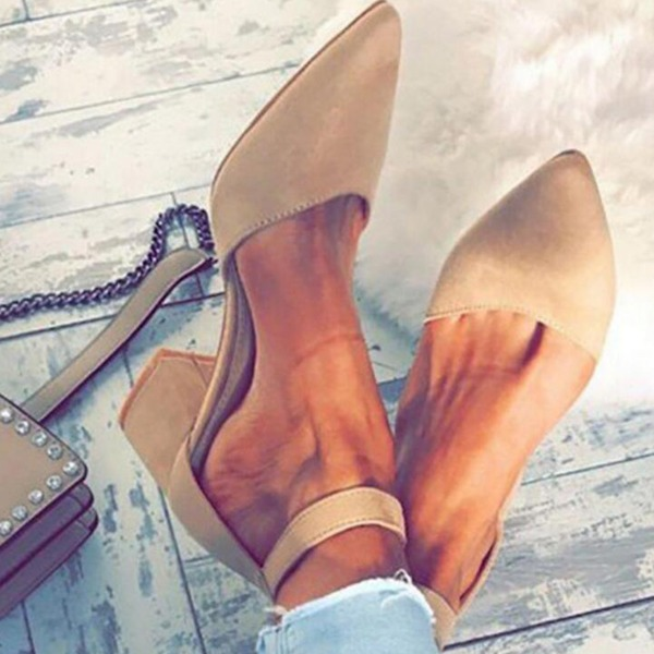 Airycloth coupon: Women's Ankle Strap Pointed Toe Nubuck Chunky Heel Pumps (1625428420)