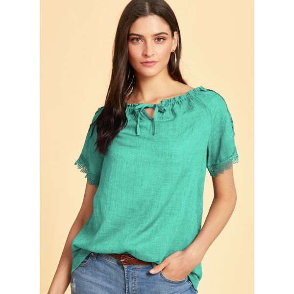 Solid Casual Boat Neckline Half Sleeve Blouses (1645430396, Blue;green;light gray;pink;red;white;yellow;dark gray