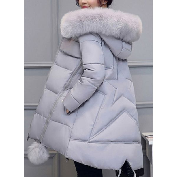 Airycloth coupon: Long Sleeve Hooded Removable Fur Collar Padded Coats (1715349544)