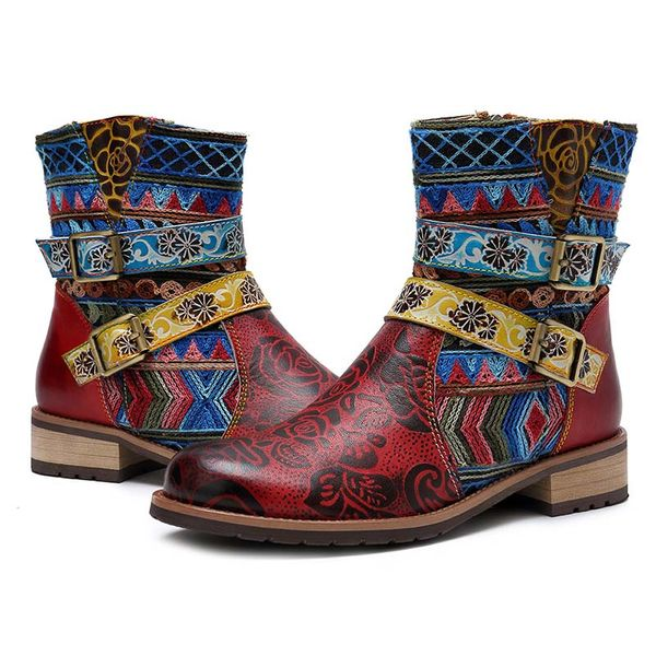 FloryDay / Women's Buckle Ankle Boots Low Heel Boots (1625644417)