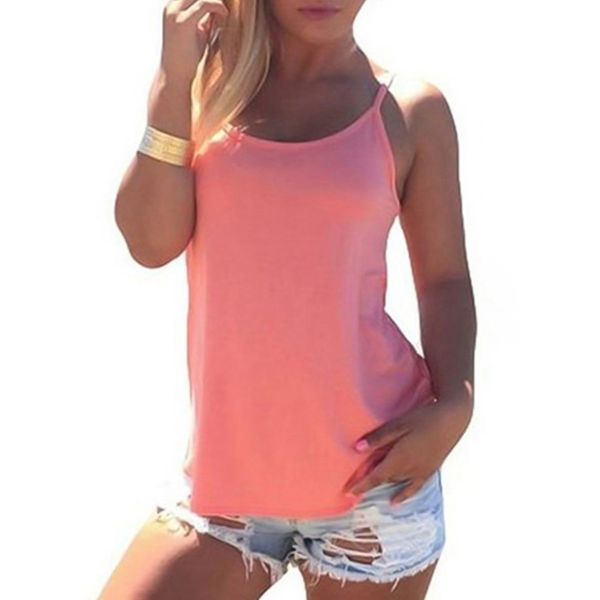 Solid Round Neck Sleeveless Casual T-shirts (1685380096, Blue;pink;red