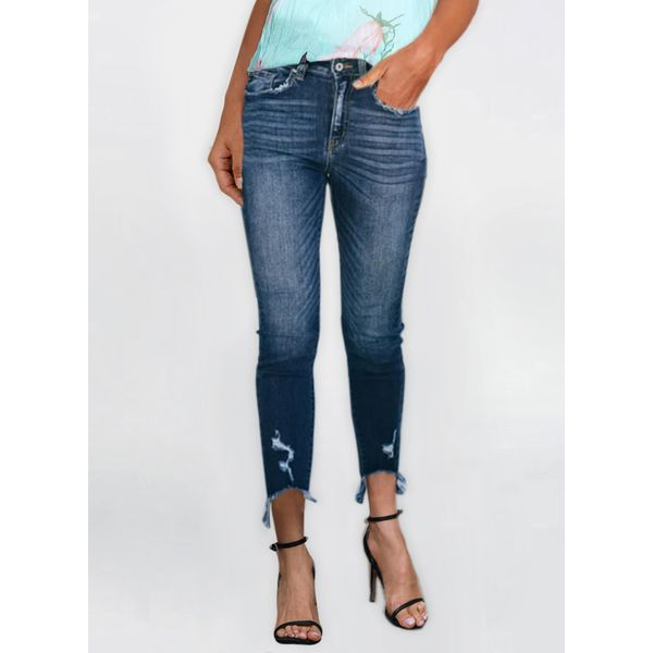 Casual Straight High Waist Denim Jeans Pants (30495781905), FloryDay, Dark Blue, Apparel & Accessories, Clothing, Pants  - buy with discount