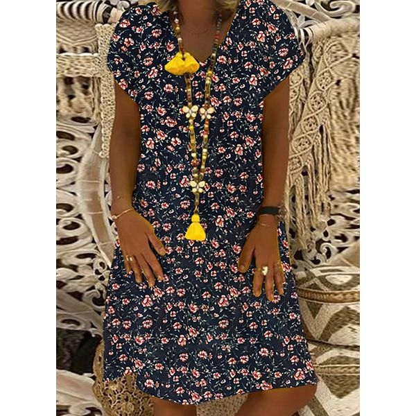 Airycloth coupon: Casual Floral Tunic V-Neckline A-line Dress (1955607860)