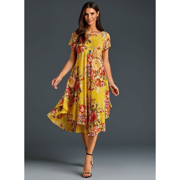 FloryDay / Chinese Casual Floral Ruffles Round Neckline A-line Dress (1955251915)