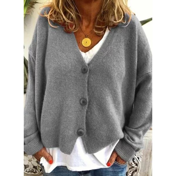 Airycloth coupon: V-Neckline Solid Casual Loose Regular Buttons Sweaters (1675613744)