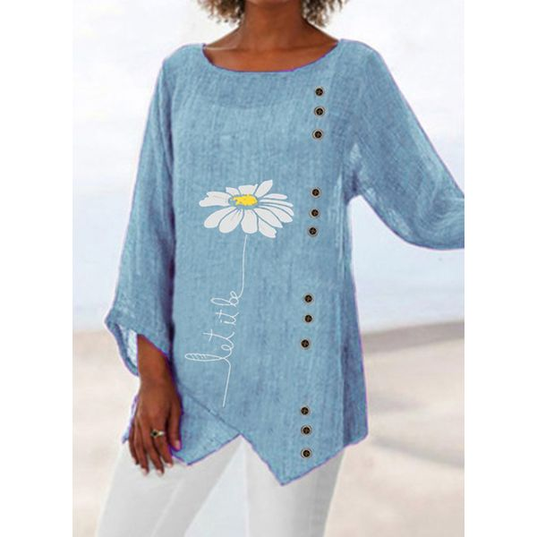 FloryDay / Floral Casual Round Neckline 3/4 Sleeves Blouses (1645609945)