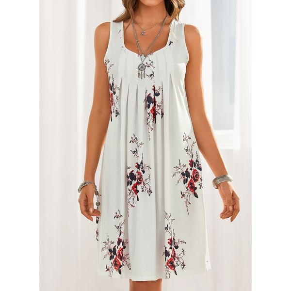Airycloth coupon: Casual Floral Tunic Round Neckline Shift Dress (1955607757)