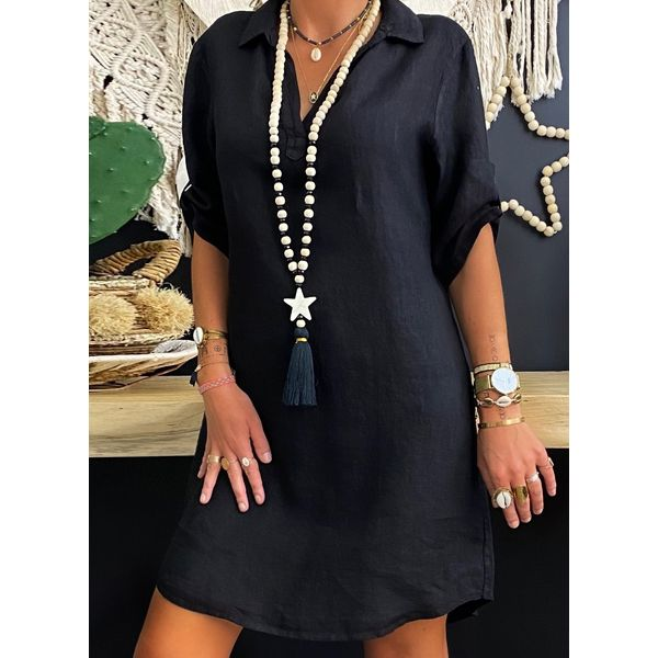 Airycloth coupon: Solid Tunic Collar Knee-Length Shift Dress (1955595784)