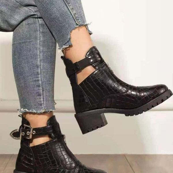 FloryDay / Women's Buckle Ankle Boots Closed Toe Chunky Heel Boots (1625674687)