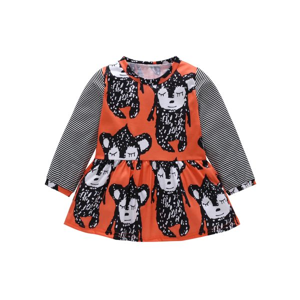 Girls' Cute Animal Daily Long Sleeve Dresses (30135441126, Red