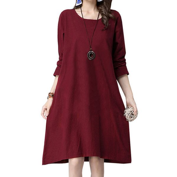 Solid Tunic Round Neckline Knee-Length Shift Dress (1955466746, Black;burgundy