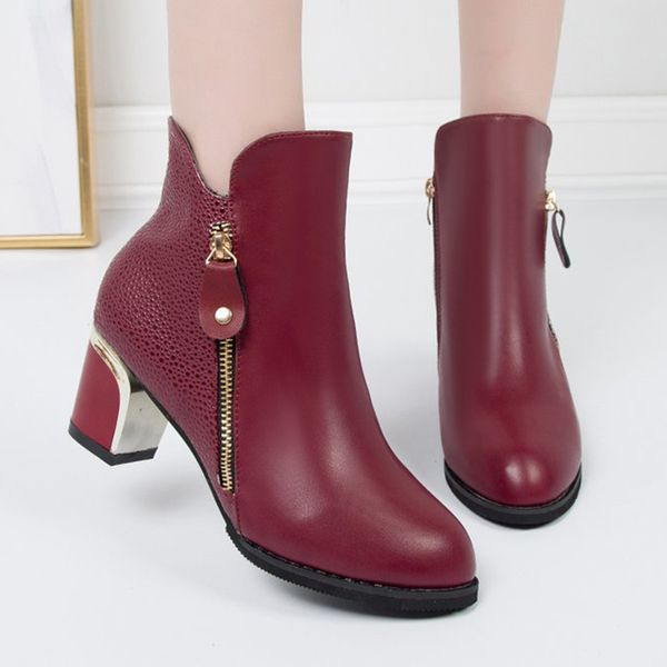 FloryDay / Women's Zipper Ankle Boots Closed Toe Pointed Toe Chunky Heel Boots (1625655961)