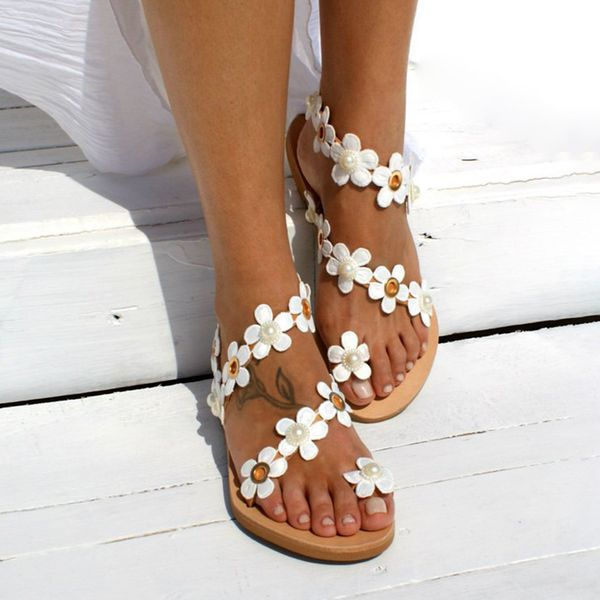 Airycloth coupon: Women's Imitation Pearl Flower Toe Ring Flat Heel Sandals (1625428454)