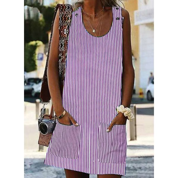 Stripe Pockets Tunic Round Neckline Shift Dress (1955414793, Apricot;black;blue;pink