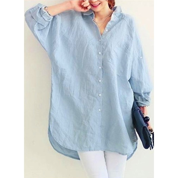 b8f33315a102d FloryDay   Solid Casual Collar Long Sleeve Blouses (1645279923)