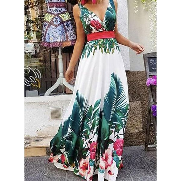 Chic Floral V-Neckline Maxi X-line Dress (1955583367, Green;serpentine
