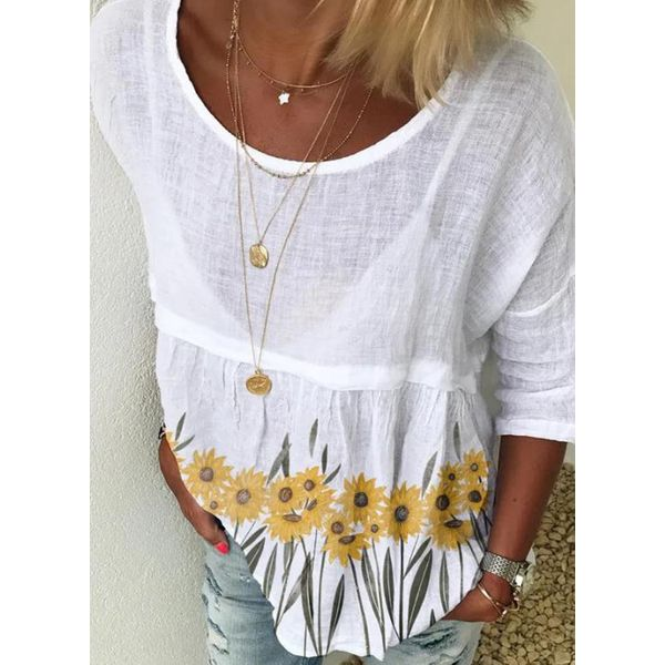 FloryDay / Floral Casual Round Neckline 3/4 Sleeves Blouses (1645598824)