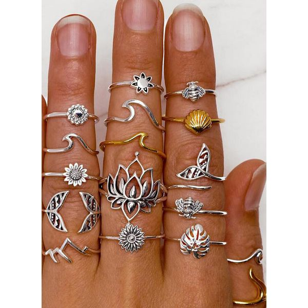 Floral No Stone Rings (1875586138, Gold;silver