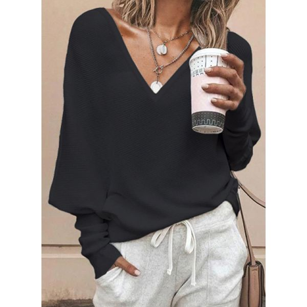 Airycloth coupon: Solid Casual V-Neckline Long Sleeve Blouses (1645613836)