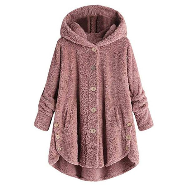 Long Sleeve Hooded Buttons Coats (1715353428, Burgundy;pink;brown