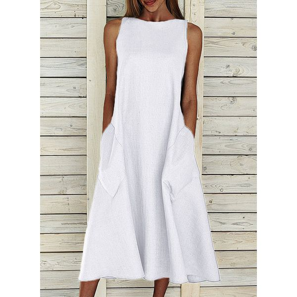 Airycloth coupon: Casual Solid Tunic Round Neckline Shift Dress (1955581368)