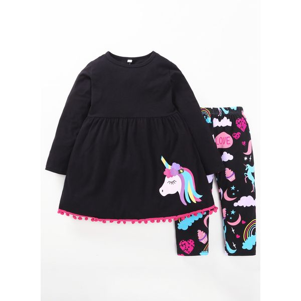 Girls' Casual Character Daily Long Sleeve Clothing Sets (30145443829, Black