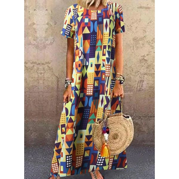 Airycloth coupon: Casual Color Block Tunic Round Neckline Shift Dress (1955607841)