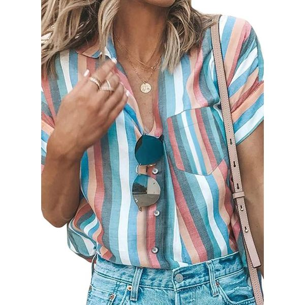 FloryDay / Color Block Casual Collar Short Sleeve Blouses (1645579660)