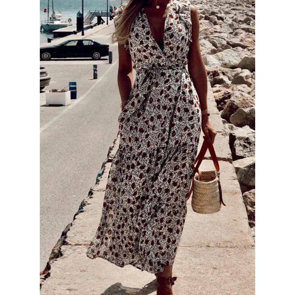 Boho Floral V-Neckline Maxi X-line Dress (1955588290, Coffee;serpentine