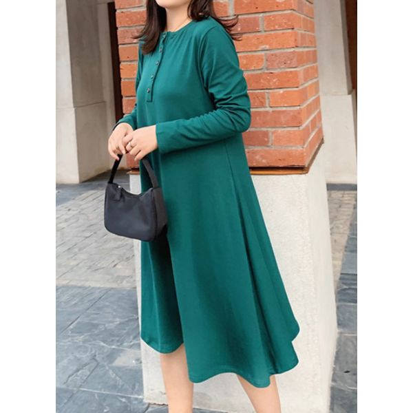 Casual Solid Buttons Round Neckline A-line Dress (1955482478, Black;burgundy;green