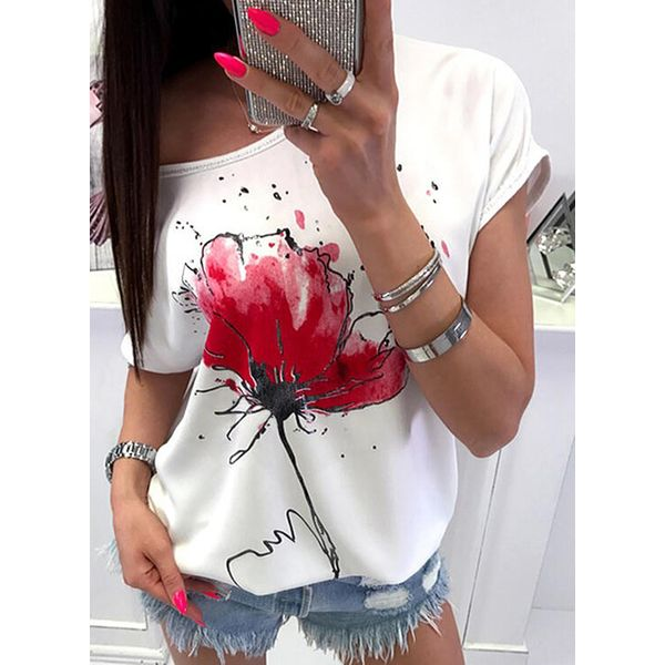 Floral Round Neck Short Sleeve Casual T-shirts (1685596304), FloryDay, White, Apparel & Accessories, Clothing, Shirts & Tops  - buy with discount