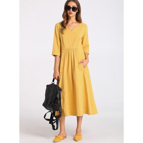 FloryDay / Chinese Casual Solid None Round Neckline X-line Dress (1955153189)