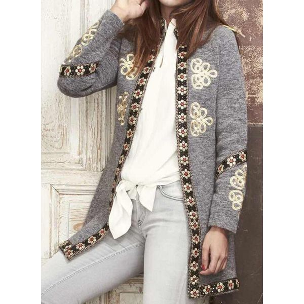 FloryDay / Long Sleeve Collarless Coats (1715456105)