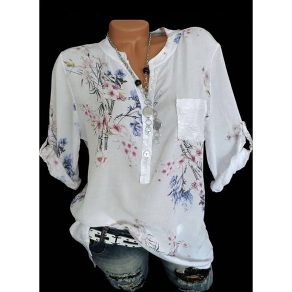 FloryDay / Floral Casual Round Neckline 3/4 Sleeves Blouses (1645384910)
