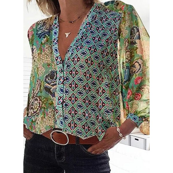 Airycloth coupon: Floral Casual V-Neckline Long Sleeve Blouses (1645588985)