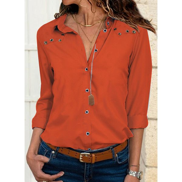 Solid Casual Collar 3/4 Sleeves Blouses (1645378988, Black;orange;pink;red;white