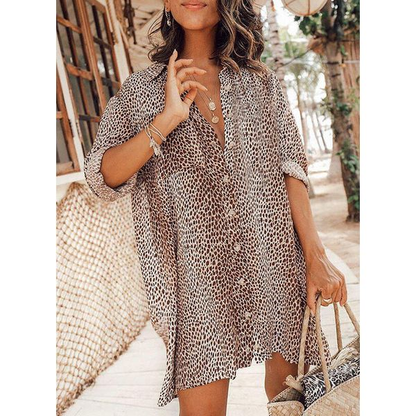 Airycloth coupon: Leopard Tunic V-Neckline Above Knee Shift Dress (1955600592)