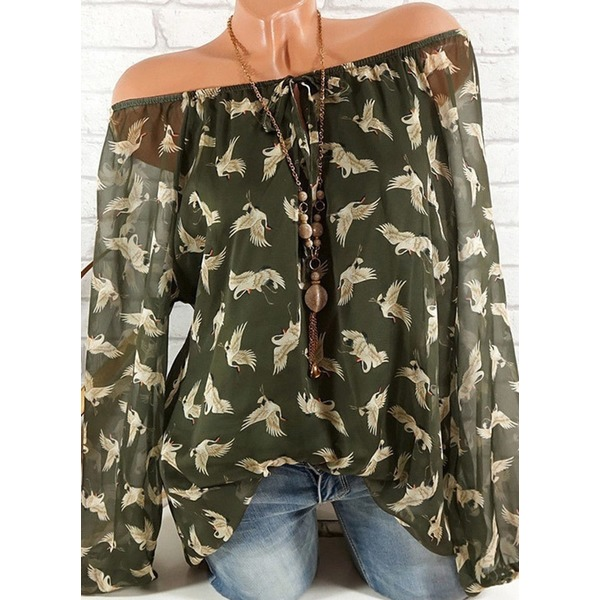 Floral Cute Boat Neckline Long Sleeve Blouses (1645302405), Blue;green;orange;pink;military green