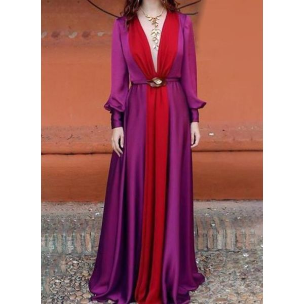 FloryDay / Sexy Color Block V-Neckline Maxi X-line Dress (1955404773)